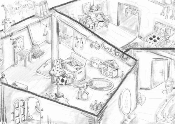 Skizze vom Dachboden