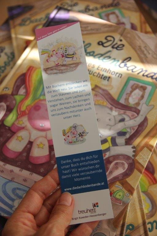 In jedem Kinderbuch von Treuherz liegt ein kostenloeses Lesezeichen dabei.